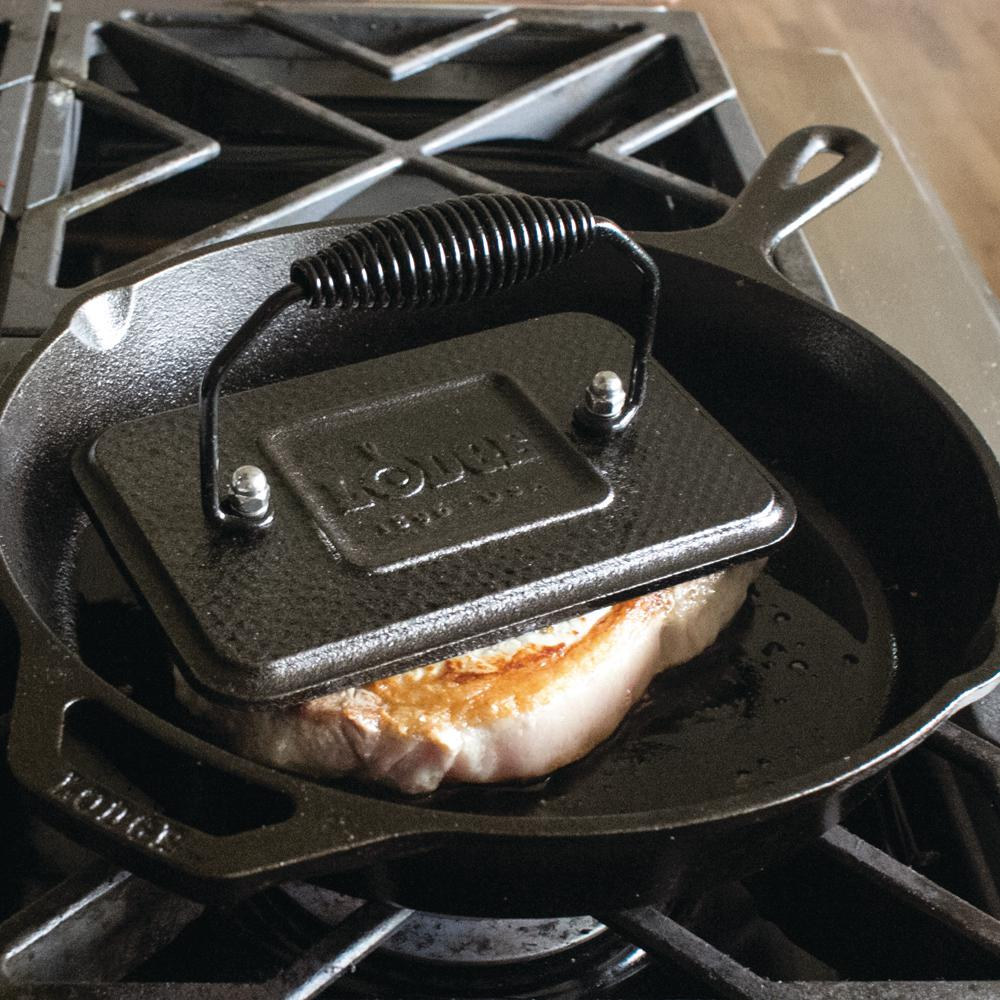 Cast Iron Grill Press with Cool Grip Spiral Handle