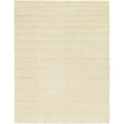 Solid Shag Pure Ivory 10 ft. x 13 ft. Area Rug