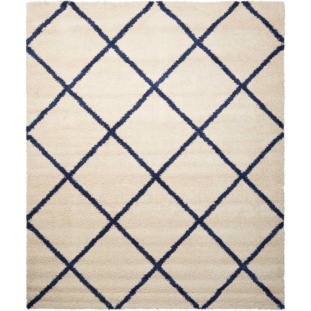 Nourison Brisbane Shag Ivory Blue 8 Ft X 10 Area Rug