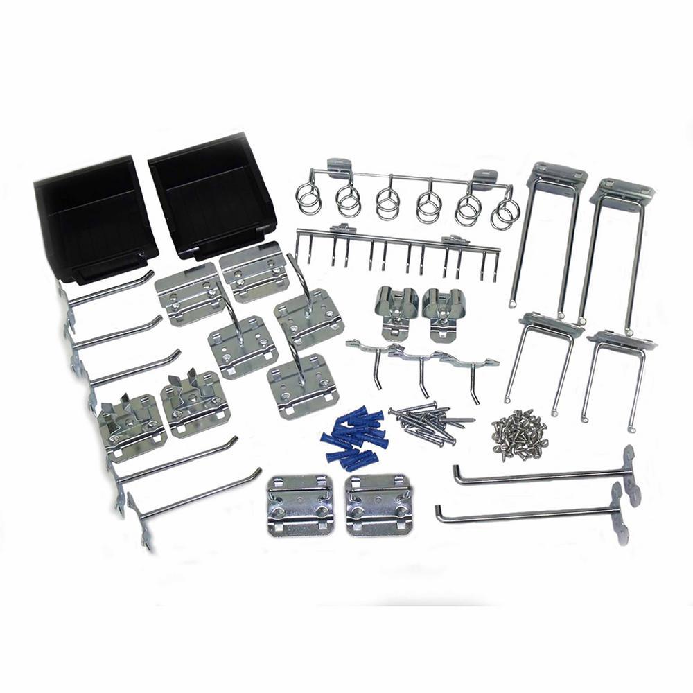 LocHook Zinc Plated Steel Hook and Bin Assortment for LocBoard (30-Piece)