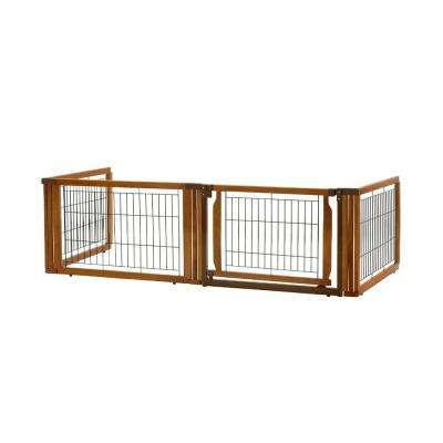 20.1 in. x 91.7 in. Low 4-Panel Wood Convertible Elite Pet Gate in Brown