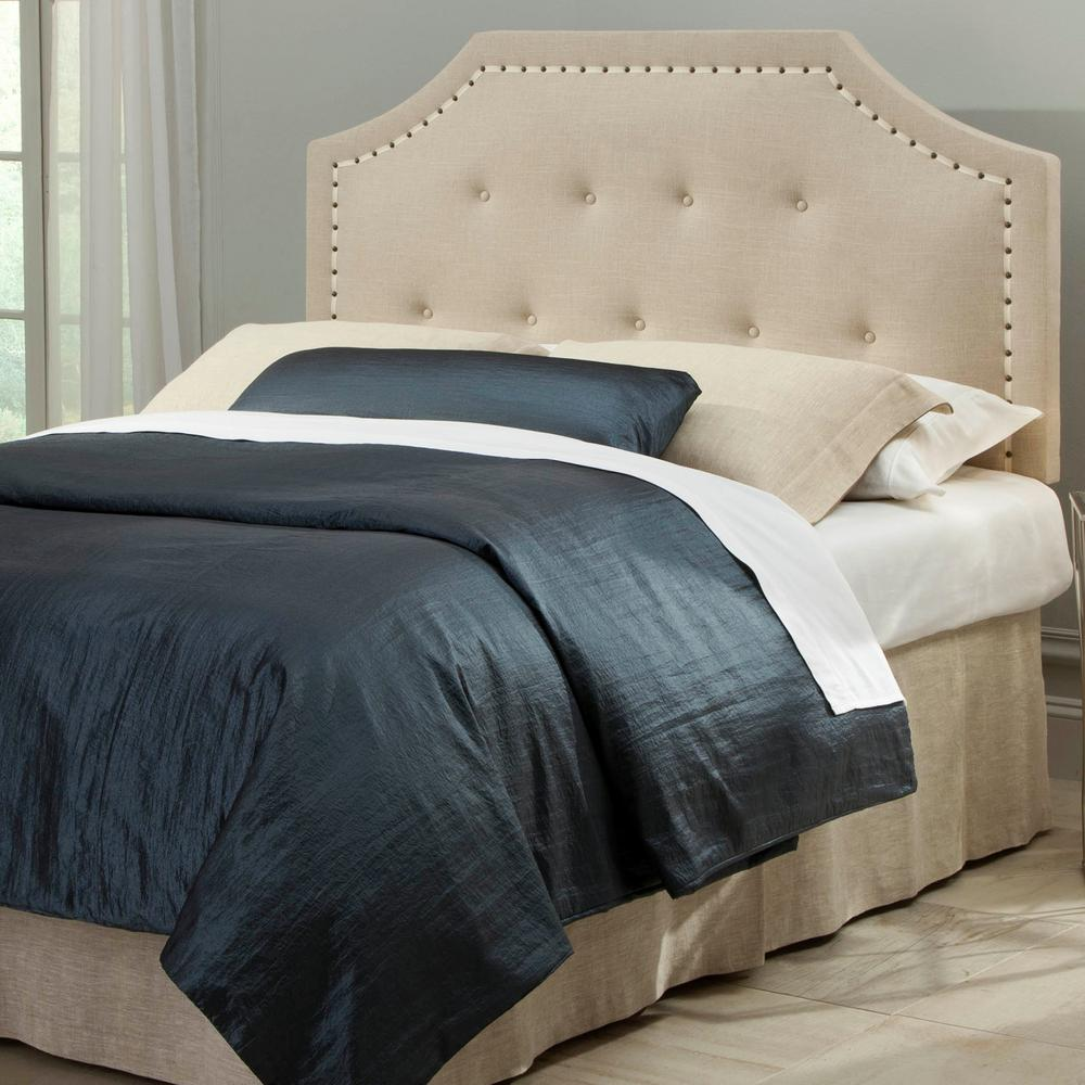 Fashion Bed Group Avignon Full Queen Size Upholstered Adjule Headboard With On Tufting And Contrast Tape Nailhead Trim B72821 The Home Depot