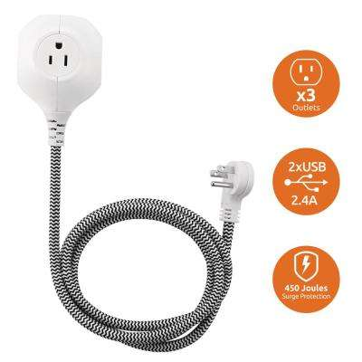 3-Outlet 2-USB Power Globe with 5 ft. Black Textile Cord and Grounded Plug, White