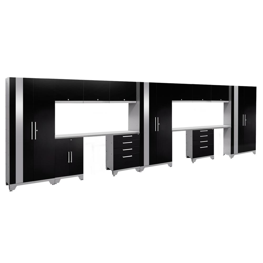 NewAge Products Performance 2.0 72 In. H X 234 In. W X 18 In. D Garage  Cabinet Set In Black (14 Piece) 53606   The Home Depot