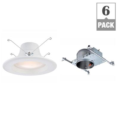 Envirolite 6 In 2700k New Construction Recessed Integrated Led Housing With White Baffle Led Trim Kit 6 Pack Evh6sl6909327 6 The Home Depot