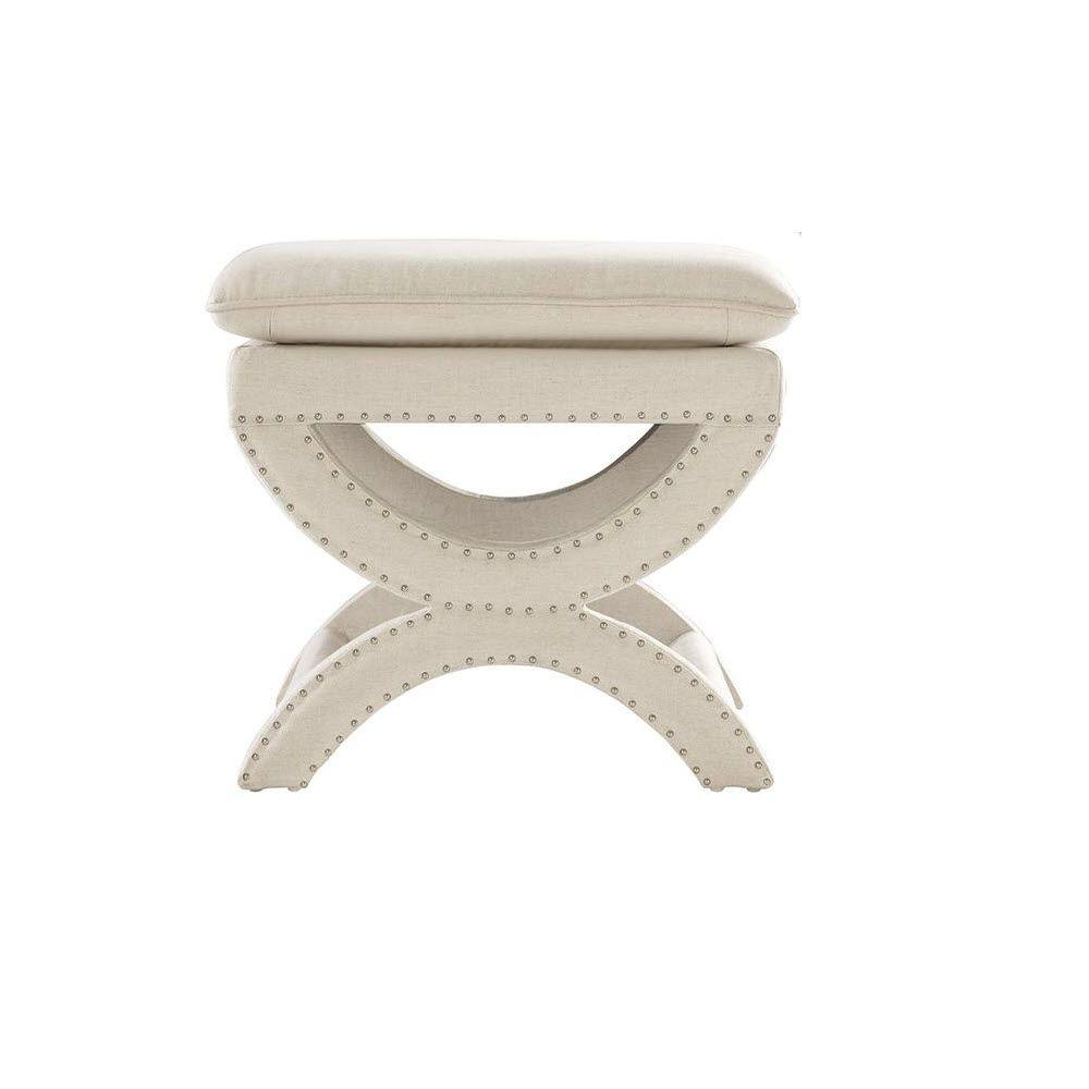 Home Decorators Collection Valencia 19 5 In Vanity Stool Faux Linen Herringbone Natural