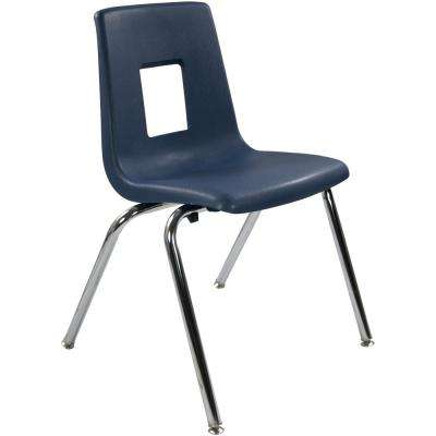18 in. Navy Student Stack School Chair (20-Pack)