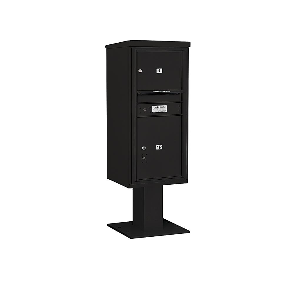 3400 Horizontal Series 1-Compartment 1-Parcel Locker Pedestal Mount Mailbox