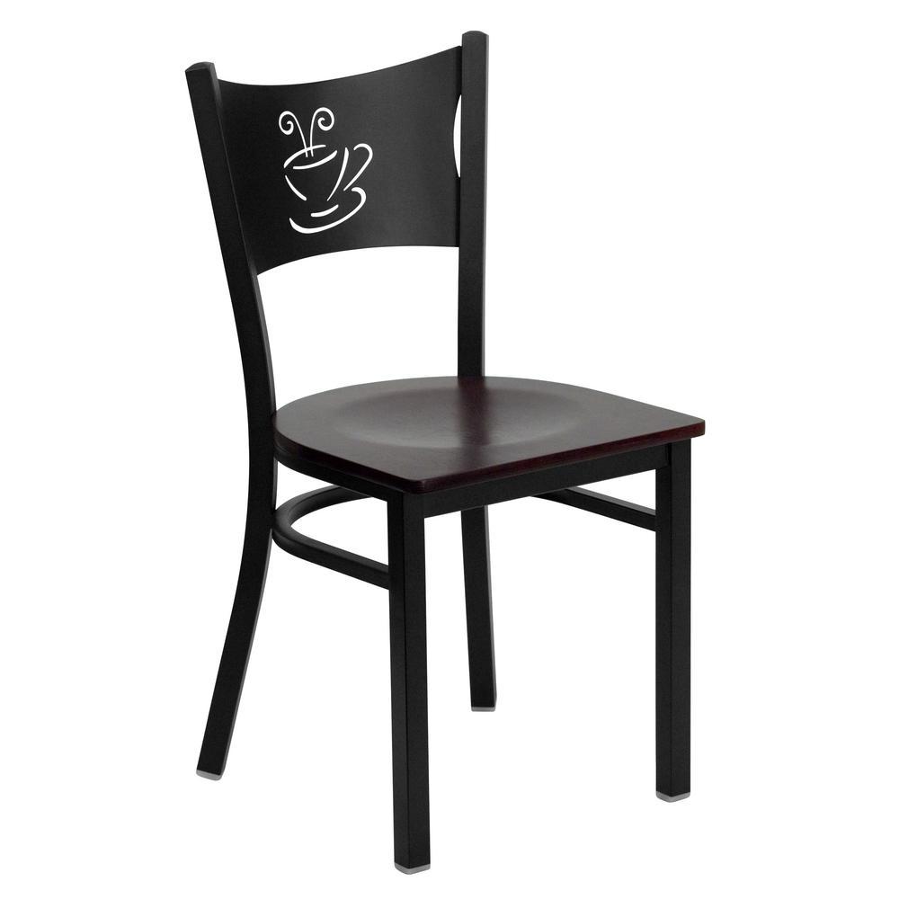 Hercules Series Black Coffee Back Metal Restaurant Chair with Mahogany Wood Seat