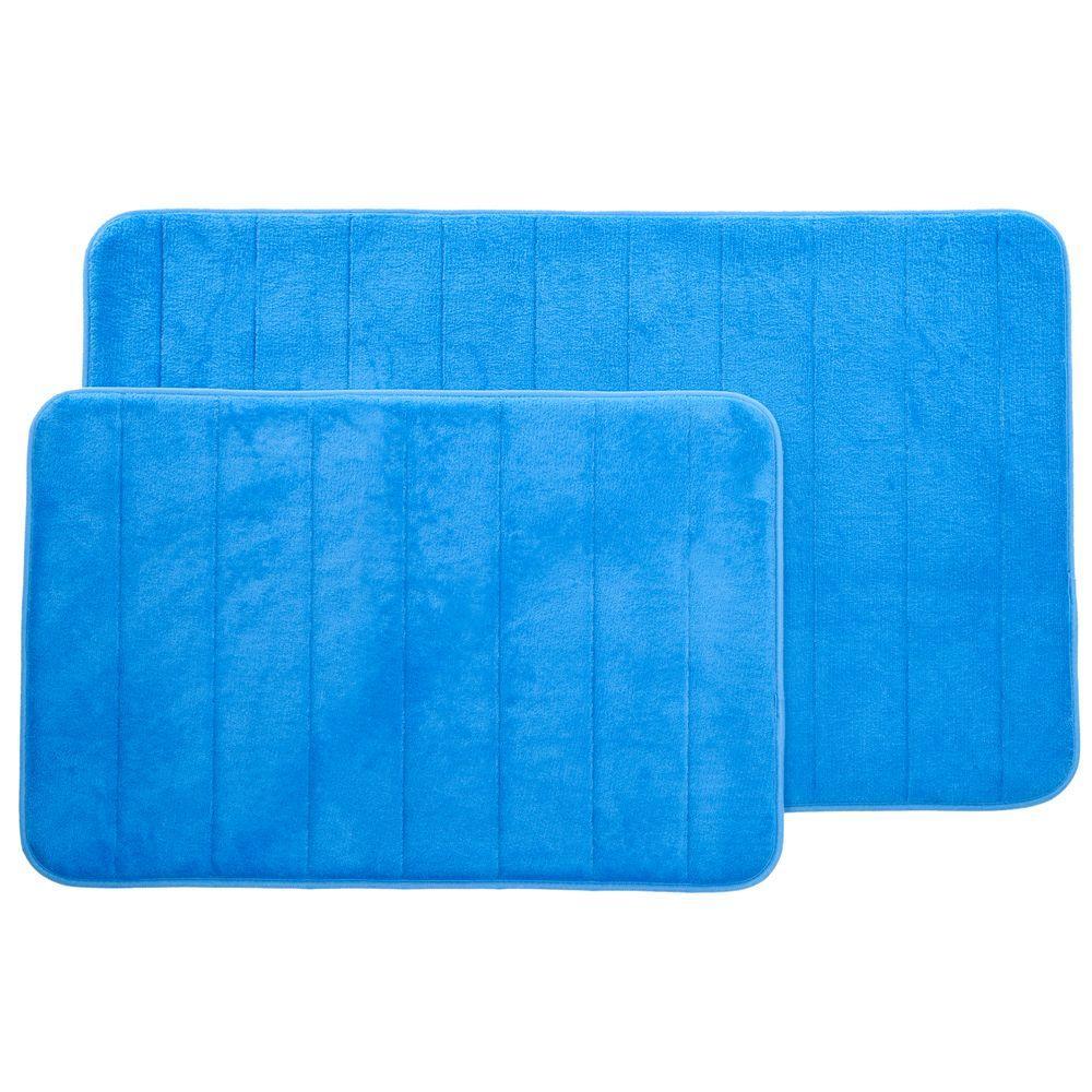 Blue 20.25 in. x 32.25 in. Memory Foam 2-Piece Bath Mat Set