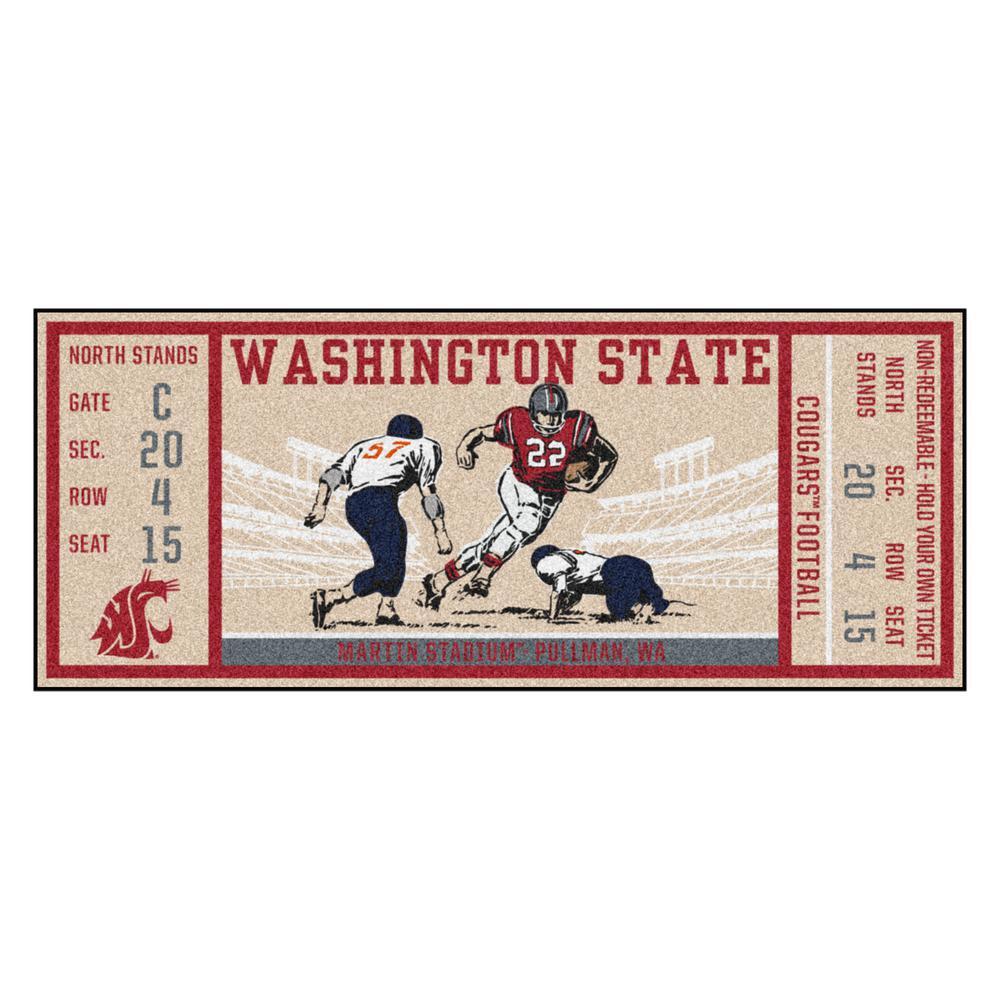 NCAA Washington State University 30 in. x 72 in. Indoor Ticket Runner Rug