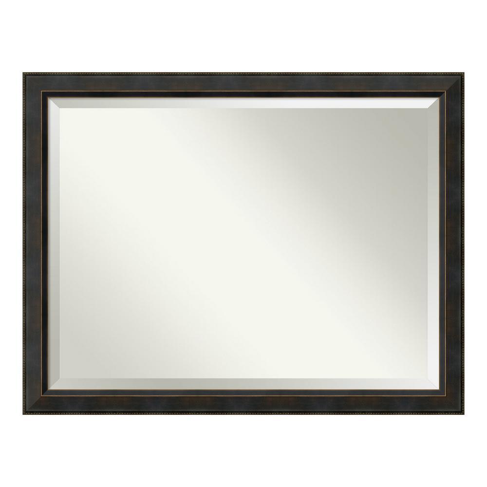 Signore 45 in. W x 35 in. H Framed Rectangular Beveled Edge Bathroom Vanity Mirror in Bronze
