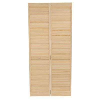 24 In. Plantation Louvered Solid Core Unfinished Wood Interior ...