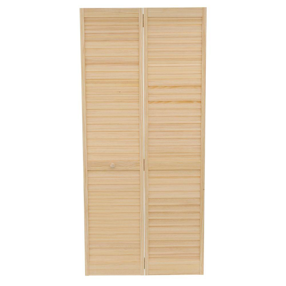Plantation Louvered Solid Core Unfinished Wood Interior Closet Bi Fold Door DPBPLLC36    The Home Depot