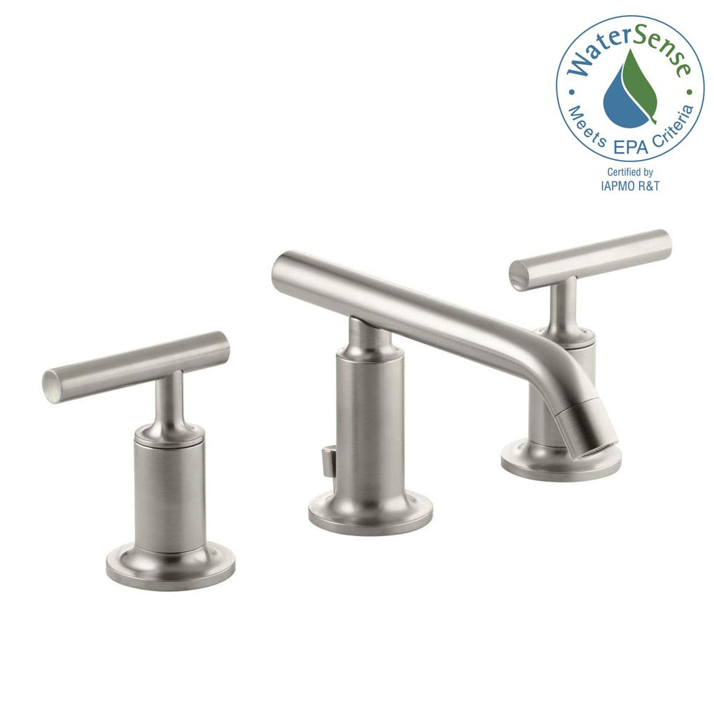 KOHLER Purist 8 in. Widespread 2-Handle Low-Arc Bathroom Faucet in Vibrant Brushed Nickel with Low Lever Handles