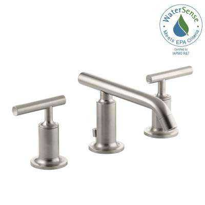 Purist 8 in. Widespread 2-Handle Low-Arc Bathroom Faucet in Vibrant Brushed Nickel with Low Lever Handles