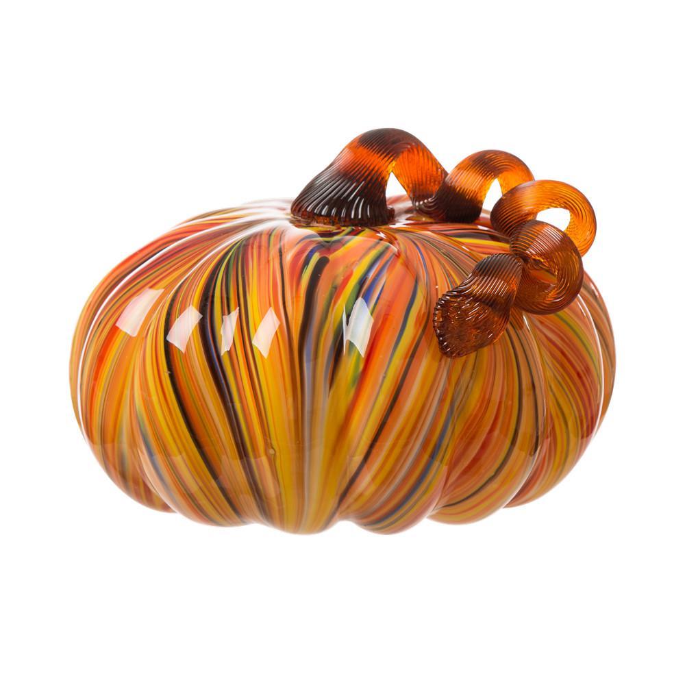 Glitzhome 8.66 in. D x 6.69 in. H Multi-Striped Glass Large Pumpkin