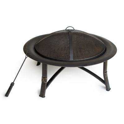 35 in. Dia x 21 in. H Round Steel Wood Burning Fire Pit