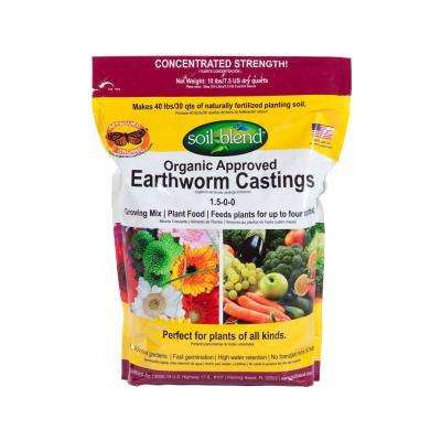 10 lb. Bag Concentrated (10 lbs. makes 40 lbs.) Pure Organic Earth Worm Castings