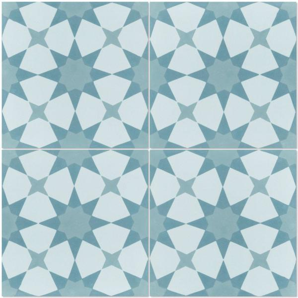 Villa Lagoon Tile Taza 8 In X 8 In Cement Handmade Floor And Wall Tile Box Of 16 6 96 Sq Ft Sb20sq12fr Taza1 S1 The Home Depot