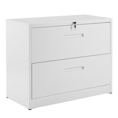 White Lockable Heavy Duty Metal File Cabinet with 2-Drawer