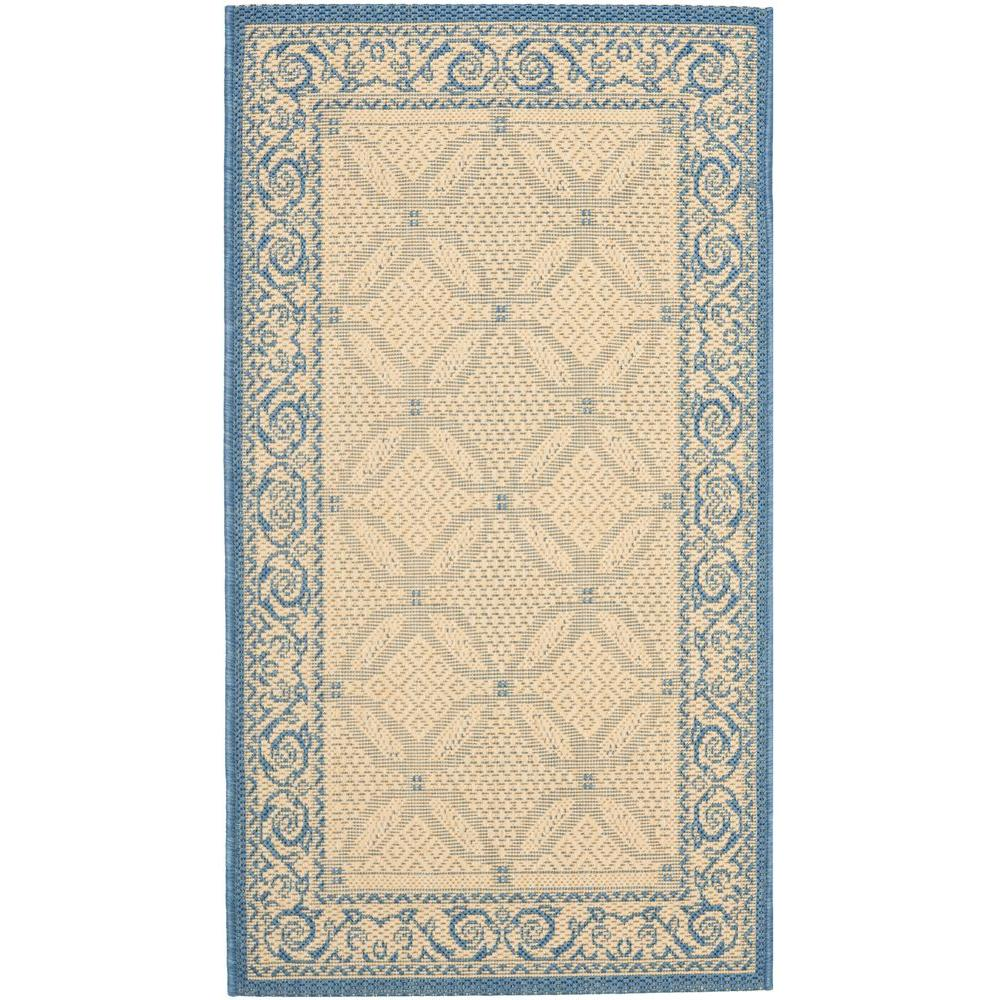 Safavieh Courtyard Natural/Blue 2 ft. x 3 ft. 7 in. Indoor/Outdoor Area Rug