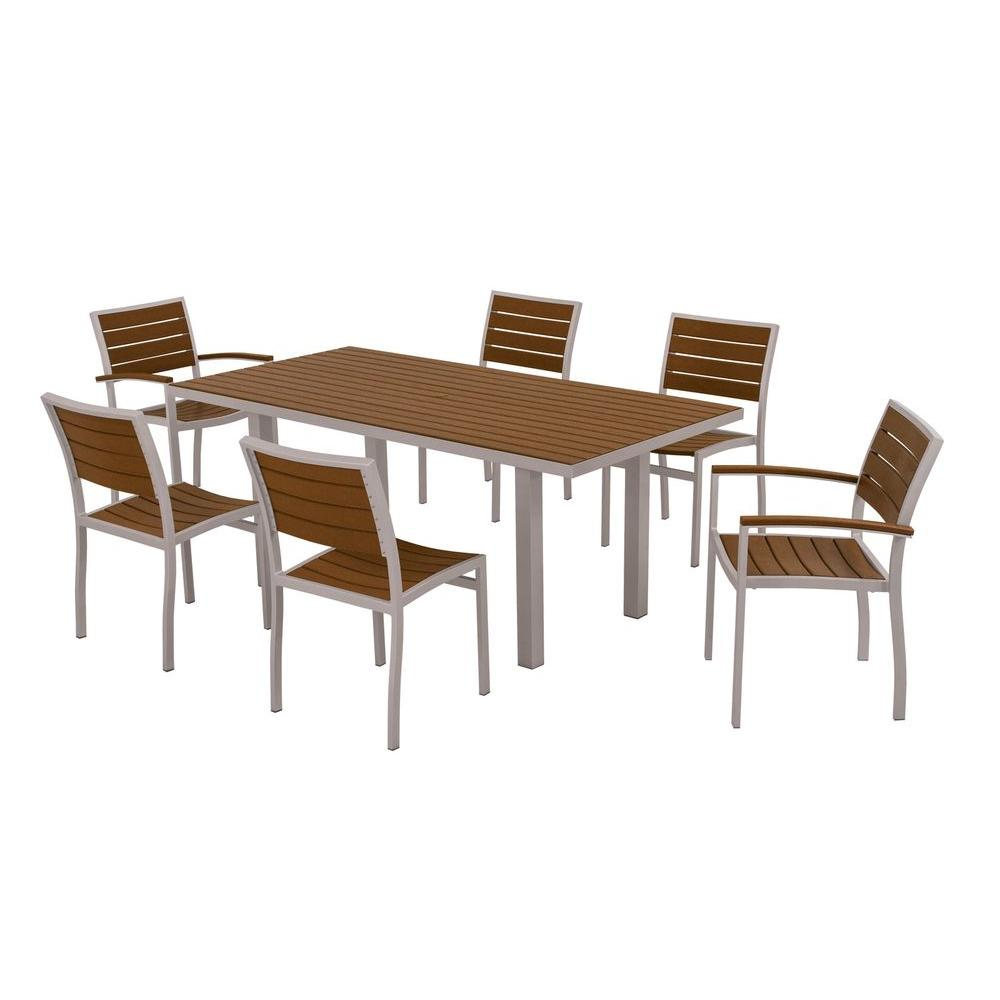 POLYWOOD Euro Textured Silver All Weather Aluminum/Plastic Outdoor Dining  Set In Teak Slats