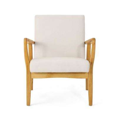 Perseus Mid-Century Modern Ivory Fabric Club Chair