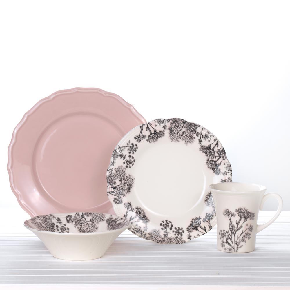 Savannah 16-Piece Vintage Pink/Multicolor Earthenware Dinnerware Set (Service for 4)