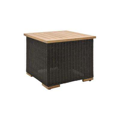 New Boston Wicker Outdoor Side Table with Teak Table Top