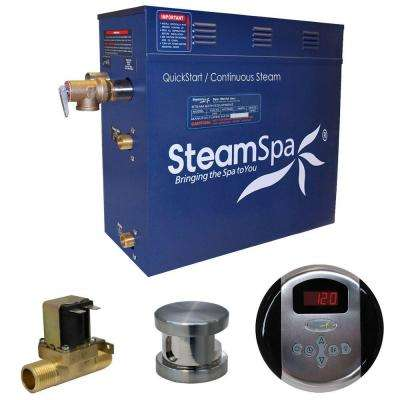 Oasis 7.5kW QuickStart Steam Bath Generator Package with Built-In Auto Drain in Brushed Nickel