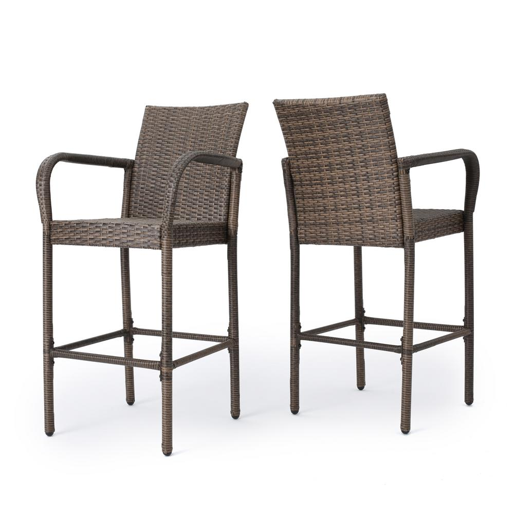 Fantastic Noble House Peggy Wicker Outdoor Bar Stool 2 Pack Gmtry Best Dining Table And Chair Ideas Images Gmtryco