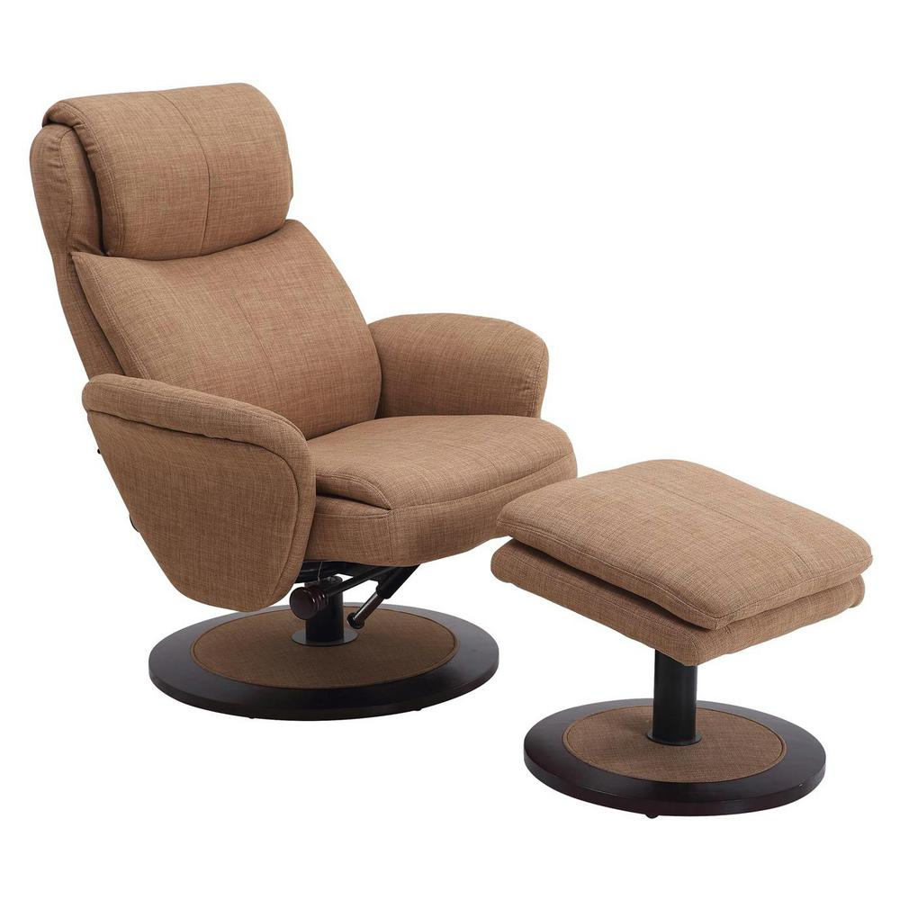 Mac Motion Comfort Chair Taupe Fabric Swivel Recliner With