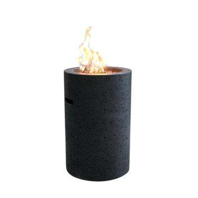 Lave Tube 27.6 in. Round Concrete Propane Fire Pit Column in Propane in Baroque Black