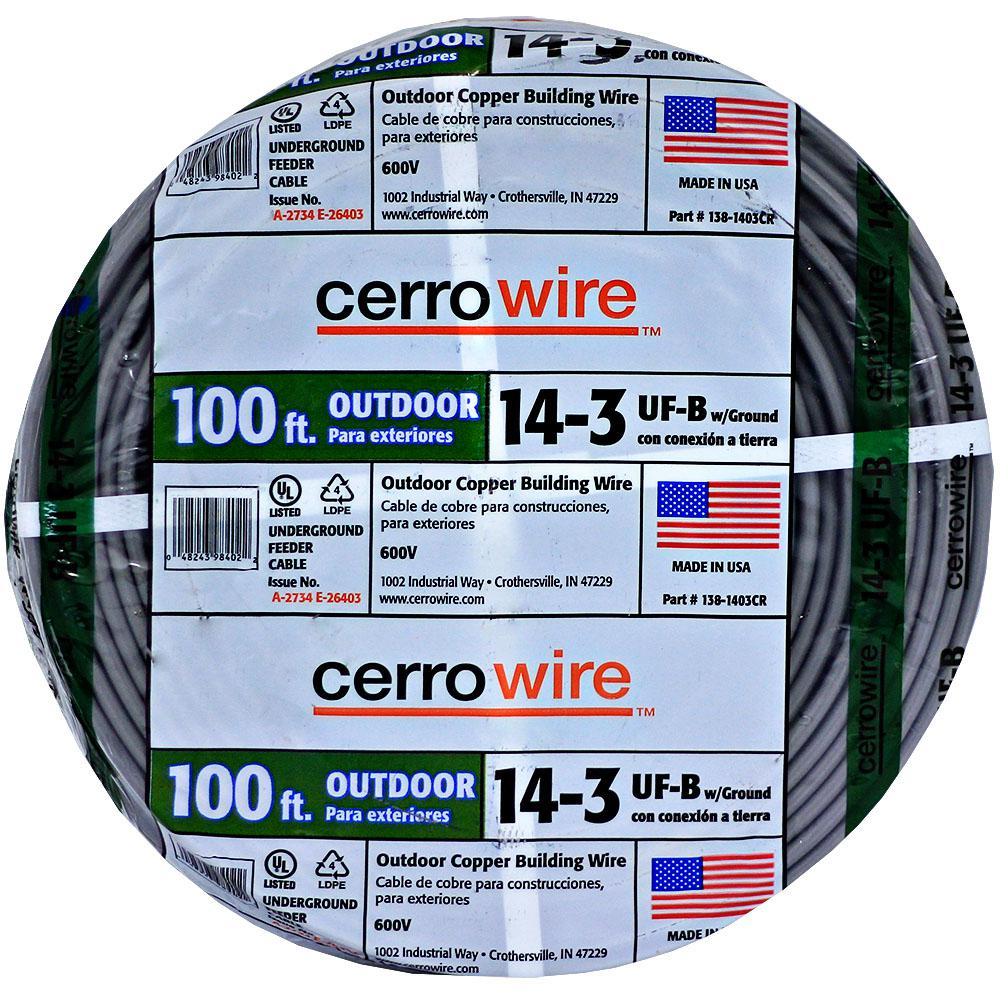 Outdoor Electrical Wiring 14 3 House Diagram Symbols Code Cerrowire 100 Ft Uf B Wire 138 1403cr 2 The Home Depot Rh Homedepot Com Lights Basics