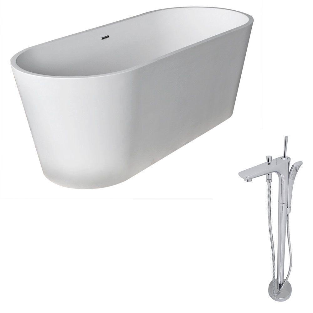 Anzzi Rossetto 66 8 In Man Made Stone Classic Flatbottom Non Whirlpool Bathtub In Matte White