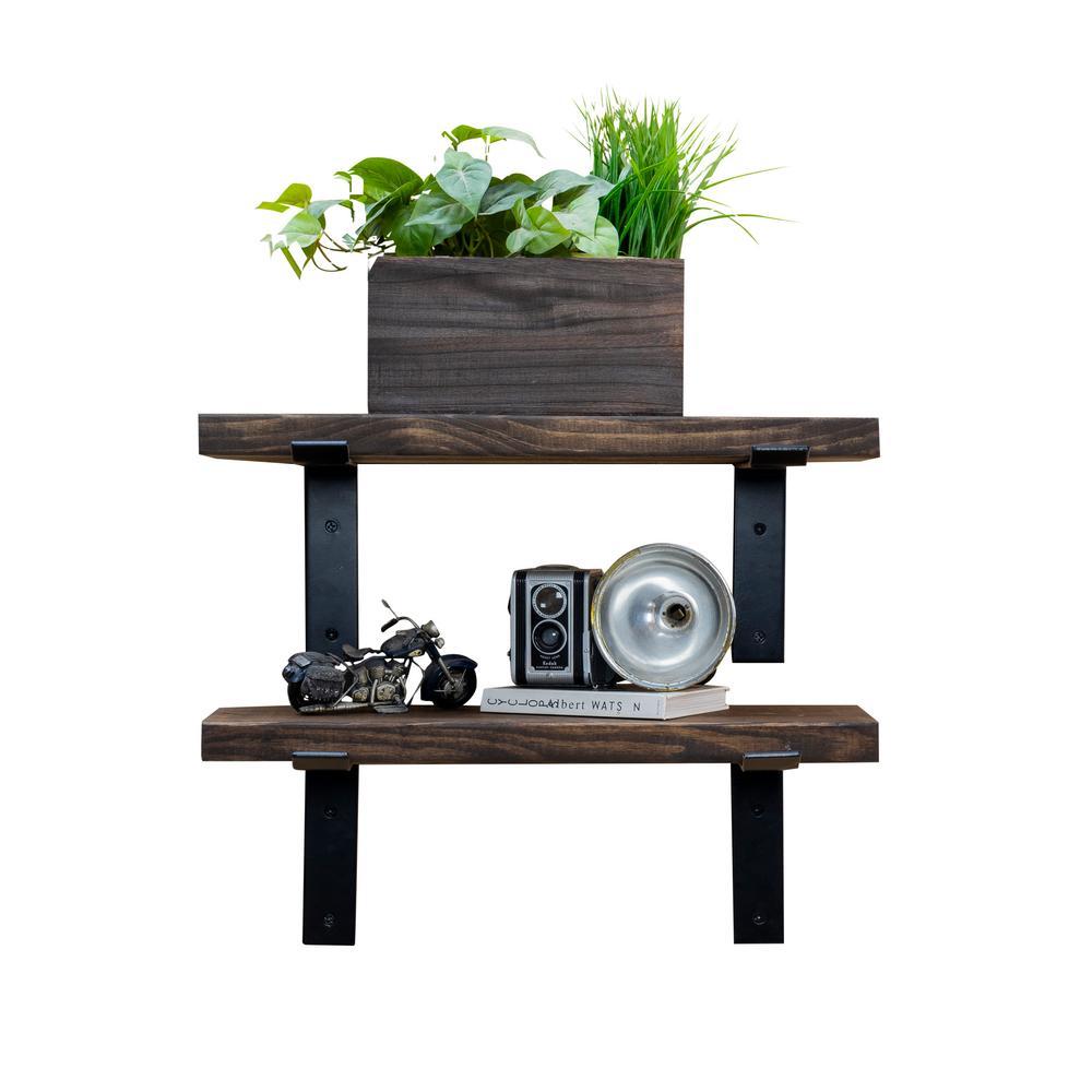 Del Hutson Designs Industrial Bracket 24 in. W x 10 in. D Dark Walnut Decorative Shelves (Set of 2)
