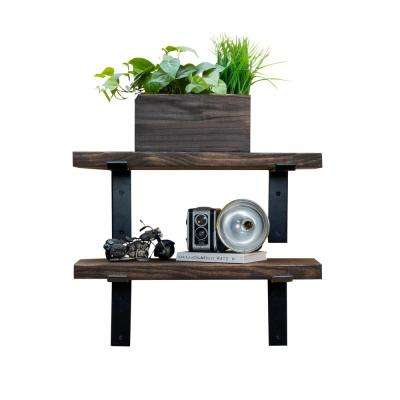 Industrial Bracket 24 in. W x 10 in. D Dark Walnut Decorative Shelves (Set of 2)