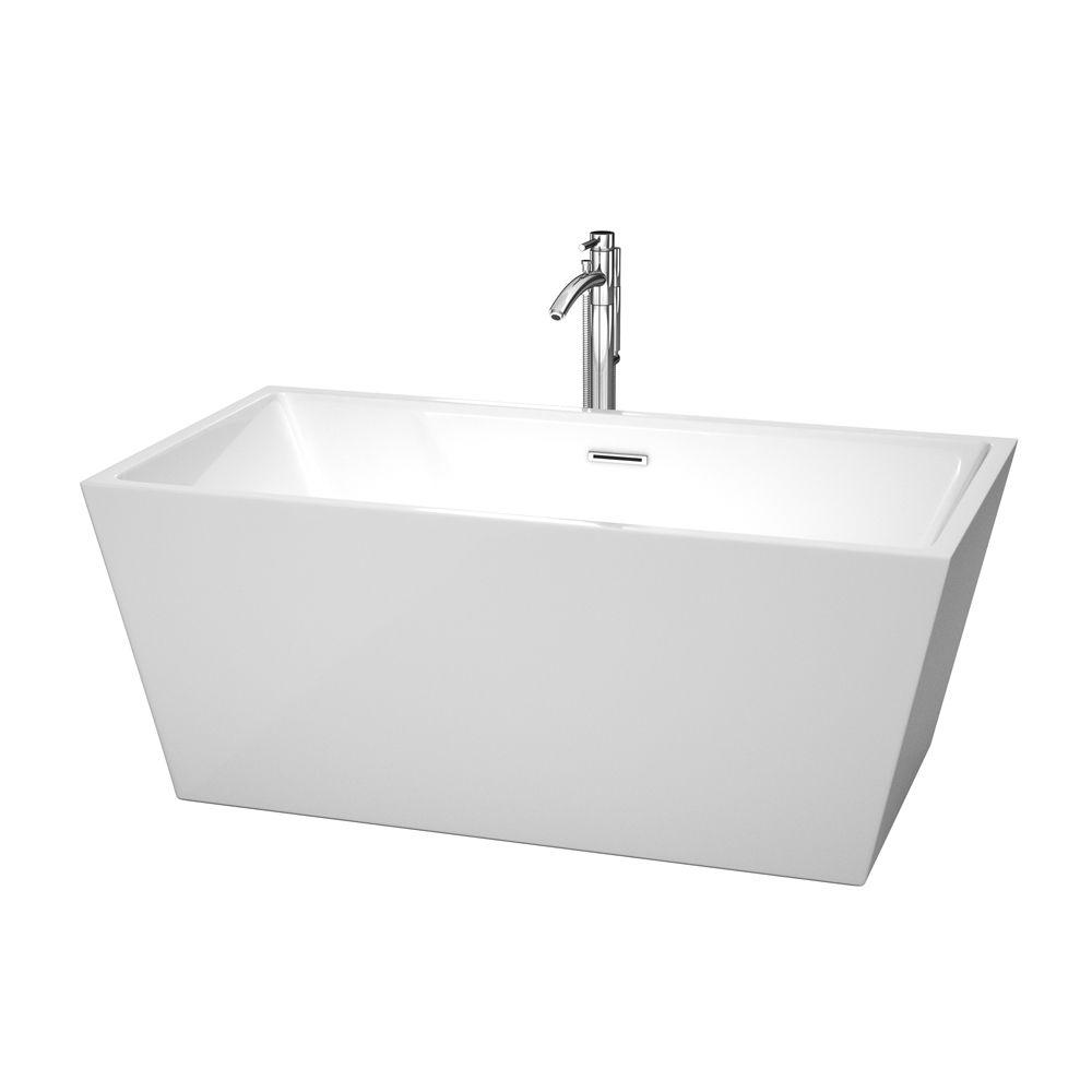 Sara 59 in. Acrylic Flatbottom Center Drain Soaking Tub in White