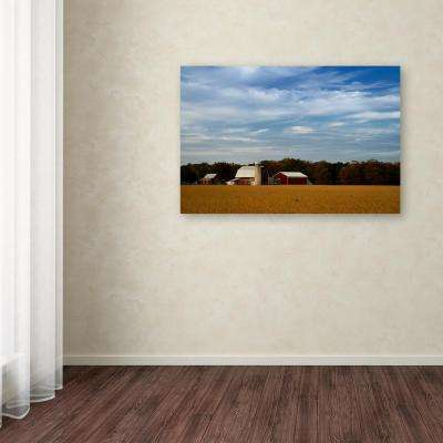 "16 in. x 24 in. ""Red Barn in Golden Field"" by PIPA Fine Art Printed Canvas Wall Art"