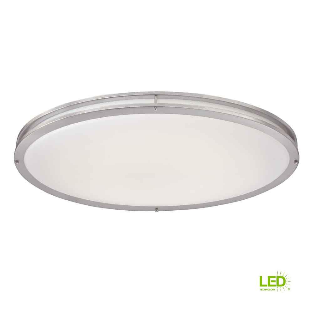 Hampton Bay Brushed Nickel Led Oval Flush Mount Dc032ledb The Home Depot
