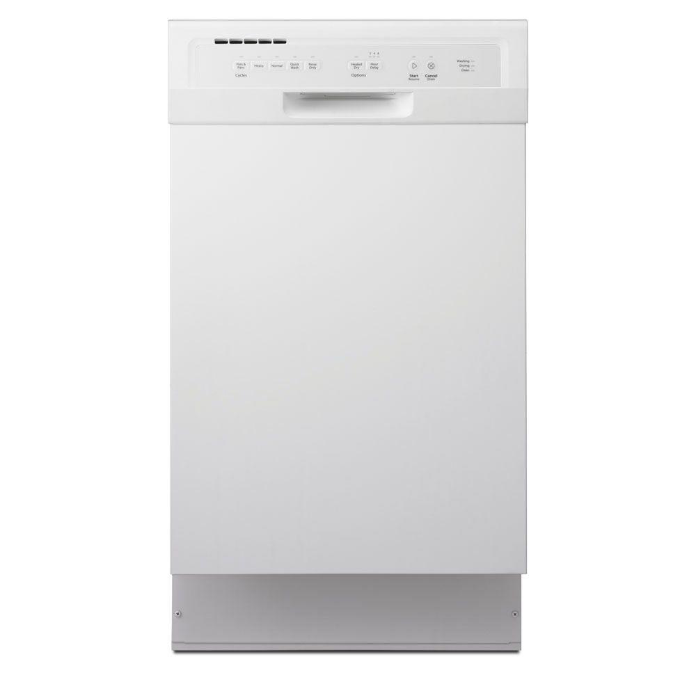 Whirlpool 18 in. Front Control Dishwasher in White with Stainless Steel Tub