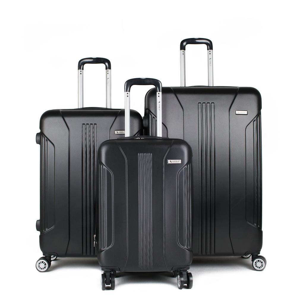 Sierra Black 3-Piece Expandable Hardside Spinner Luggage with TSA Lock
