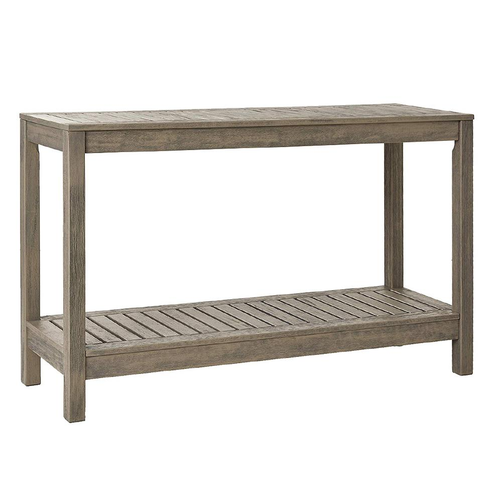 Braga Weathered Gray Wood Outdoor Side Table
