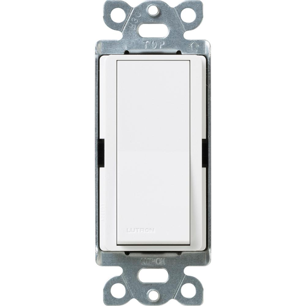 Lutron Claro 15 Amp 4-Way Rocker Switch with Locator Light, Snow-SC on home depot toggle switches, home depot screwdriver, home depot dimmer, leviton 3-way switch, home depot electrical key switches, home depot light switches, home depot night light,