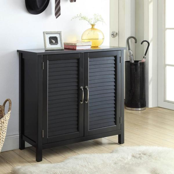 Urban Style Living Olivia Black Accent Cabinet, 2-Shutter Doors ...