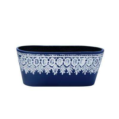 12.5 in. L Oval Composite Crochet Planter in Mariner Blue