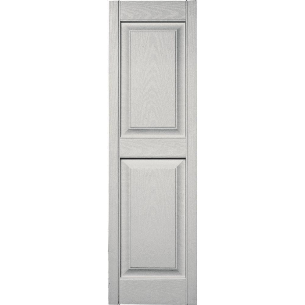 Builders Edge 15 in. x 51 in. Raised Panel Vinyl Exterior Shutters Pair in #030 Paintable