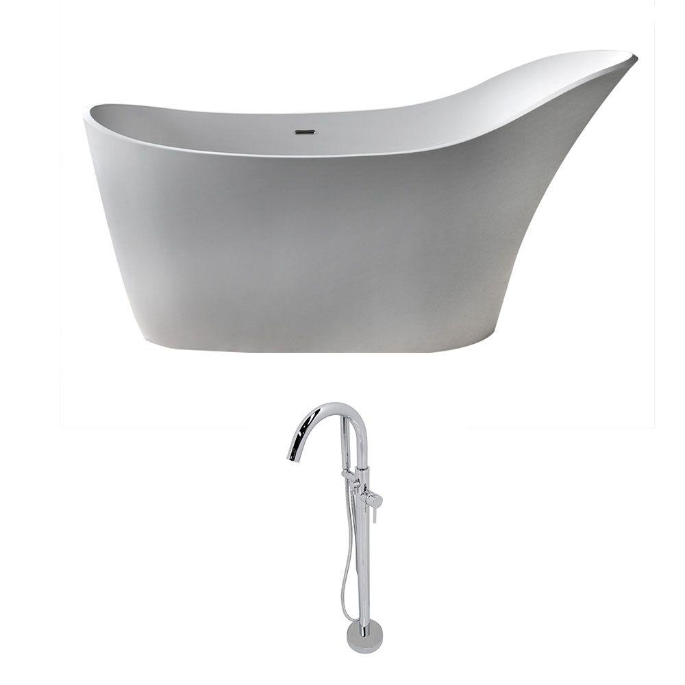 Alto 5.6 ft. Man-Made Stone Slipper Flatbottom Non-Whirlpool Bathtub in Matte