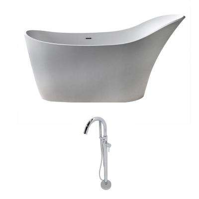 Alto 5.6 ft. Man-Made Stone Slipper Flatbottom Non-Whirlpool Bathtub in Matte White and Kros Faucet in Chrome
